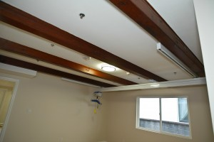 1 – Finished X-Y system in room with exposed beams